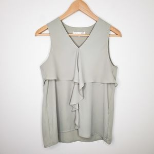 Violet + Claire Sage Green Sleeveless Ruffle Top